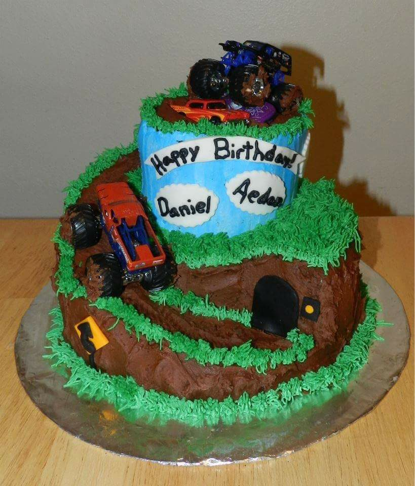 Monster Truck Birthday Cake Turquoise Tiers