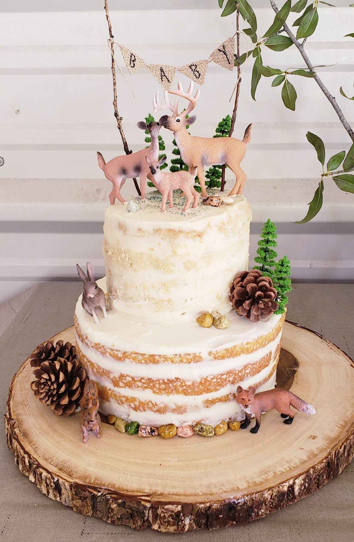 Woodland Creatures Baby Shower Cake Turquoise Tiers