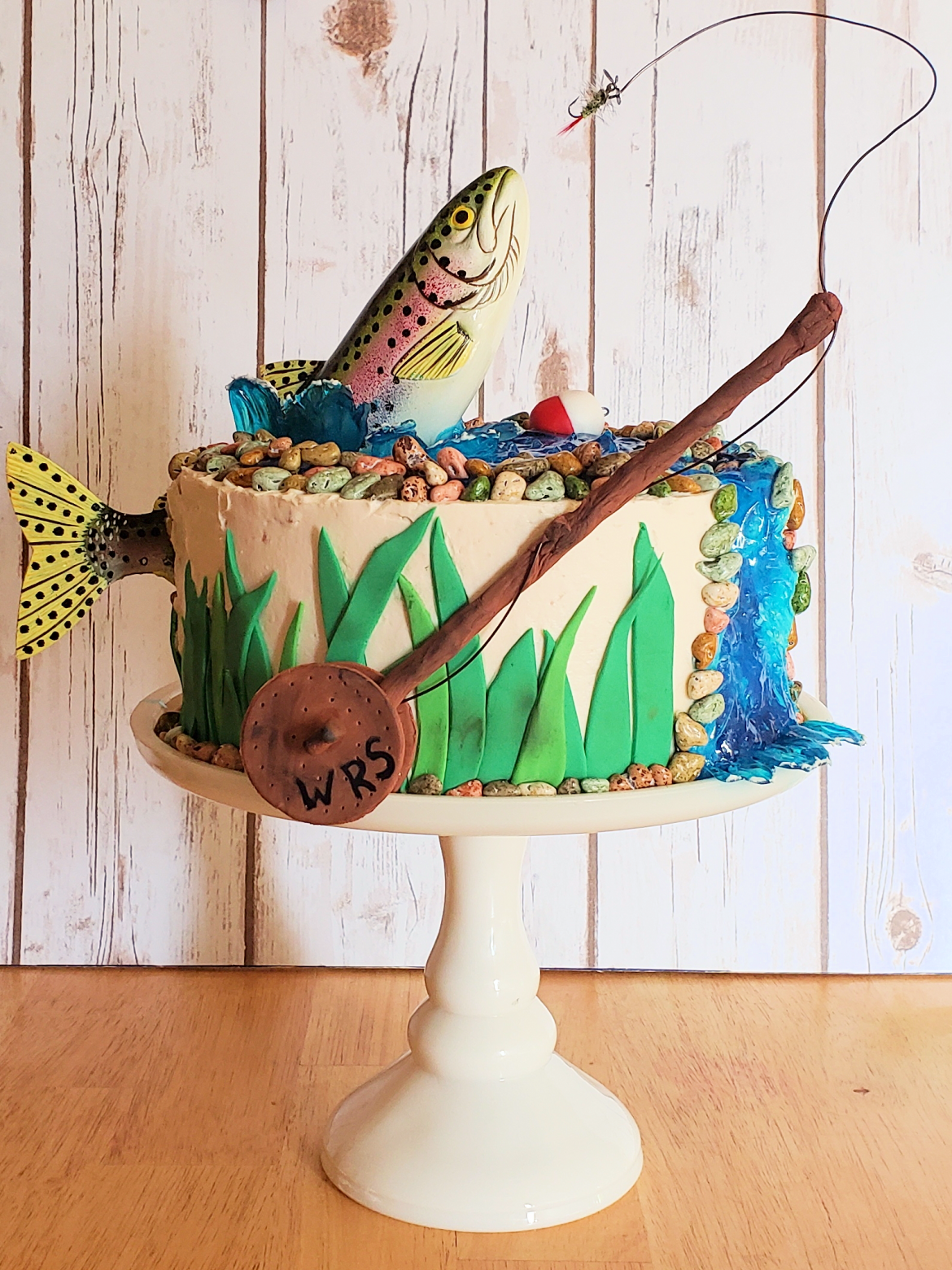 Fishing Birthday Cake Turquoise Tiers